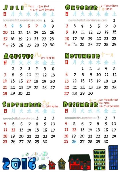 Juli - Desember (revisi, yang tadi bulan November lupa belum pake gincu)